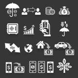 Iconos del concepto de las actividades bancarias del negocio fijados ilustración del vector