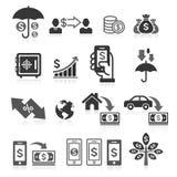 Iconos del concepto de las actividades bancarias del negocio fijados stock de ilustración