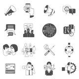 Iconos del concepto de los foros de Internet fijados negros Imágenes de archivo libres de regalías