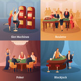 Iconos del concepto del casino fijados Foto de archivo libre de regalías