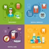 Iconos del concepto del cuidado dental fijados ilustración del vector