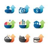 Iconos del concepto del negocio de la carta del gráfico de la flecha fijados. Imágenes de archivo libres de regalías