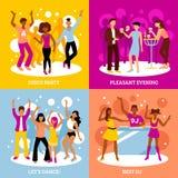 Iconos del concepto del partido de disco fijados stock de ilustración