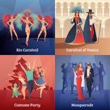 Iconos del concepto del partido del carnaval fijados Imagen de archivo libre de regalías