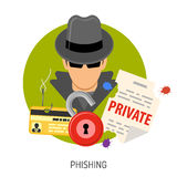 Iconos del concepto del phishing Fotografía de archivo