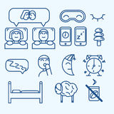 Iconos del concepto del sueño del vector fijados Foto de archivo
