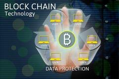Iconos del concepto y del bitcoin de la red de la cadena de bloque, exposición doble o Imagen de archivo libre de regalías