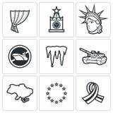 Iconos del conflicto de los E.E.U.U. Rusia Ilustración del vector Foto de archivo libre de regalías