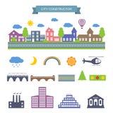 Iconos del constructor de la ciudad fijados Foto de archivo libre de regalías