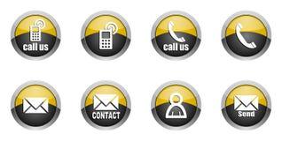Iconos del contacto fijados Imagen de archivo