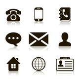 Iconos del contacto fijados con la reflexión foto de archivo libre de regalías