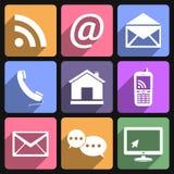Iconos del contacto y de la comunicación Imagenes de archivo