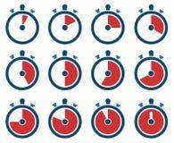 Iconos del contador de tiempo Imágenes de archivo libres de regalías