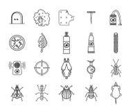 Iconos del control del parásito y de insecto fijados Ejemplo del vector EPS 10 Imágenes de archivo libres de regalías