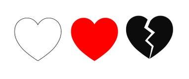 Iconos del corazón stock de ilustración