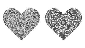 Iconos del corazón del amor del mosaico de las herramientas de la reparación libre illustration