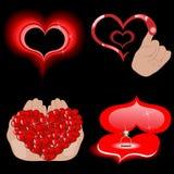 Iconos del corazón del vector en el negro Imágenes de archivo libres de regalías