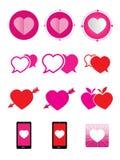 Iconos del corazón fijados Foto de archivo