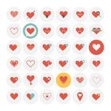 Iconos del corazón fijados Fotos de archivo libres de regalías