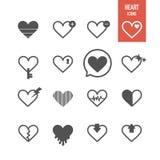 Iconos del corazón fijados stock de ilustración