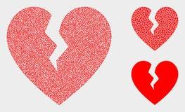 Iconos del corazón quebrado del vector de Pixelated ilustración del vector