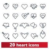Iconos del corazón y colección del vector de los símbolos del amor libre illustration