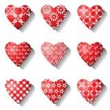Iconos del corazón. Elementos del diseño de la tarjeta del día de San Valentín. Fotografía de archivo