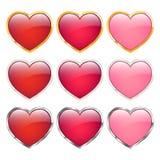 Iconos del corazón fijados Imágenes de archivo libres de regalías