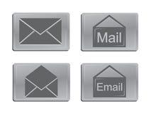 Iconos del correo del metal Foto de archivo