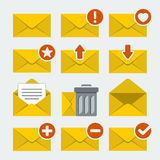 Iconos del correo del vector fijados Imágenes de archivo libres de regalías