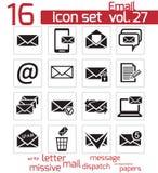 Iconos del correo electrónico del negro del vector Ilustración del Vector