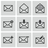 Iconos del correo electrónico del negro del vector fijados Fotografía de archivo libre de regalías