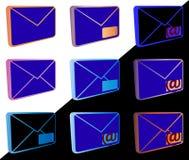 Iconos del correo para el diseño web etc Foto de archivo