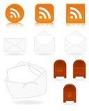 Iconos del correo y de la alimentación Foto de archivo libre de regalías