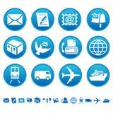 Iconos del correo y del transporte Foto de archivo