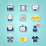Iconos del corte del papel del anuncio Imagen de archivo