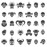 Iconos del cráneo fijados stock de ilustración