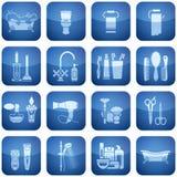 Iconos del cuadrado del cobalto 2.os fijados: Baño Imagen de archivo libre de regalías