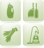 Iconos del cuadrado del Olivine 2.os fijados: Limpieza Foto de archivo libre de regalías