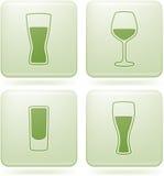 Iconos del cuadrado del Olivine 2.os fijados: Vidrio del alcohol stock de ilustración