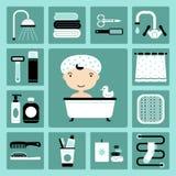 Iconos del cuarto de baño Fotografía de archivo