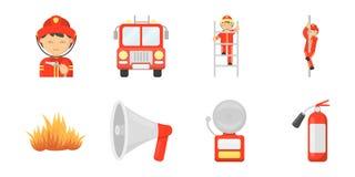 Iconos del cuerpo de bomberos en la colección del sistema para el diseño Los bomberos y el equipo vector el ejemplo común del web Imagen de archivo