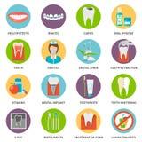 Iconos del cuidado dental fijados stock de ilustración