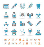 Iconos del cuidado médico, de la medicina y del hospital Fotografía de archivo