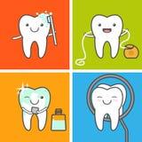 Iconos del cuidado y de la higiene de los dientes Imágenes de archivo libres de regalías