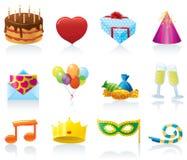 Iconos del cumpleaños Fotografía de archivo libre de regalías