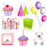Iconos del cumpleaños stock de ilustración