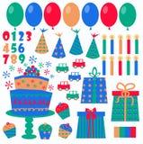 Iconos del cumpleaños Fotos de archivo libres de regalías