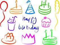 Iconos del cumpleaños Imagen de archivo