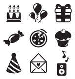 Iconos del cumpleaños Imágenes de archivo libres de regalías
